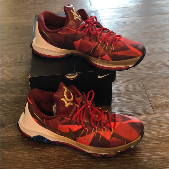 NIKE KD ID BASKETBALL SHOES RED GOLD Snake Print